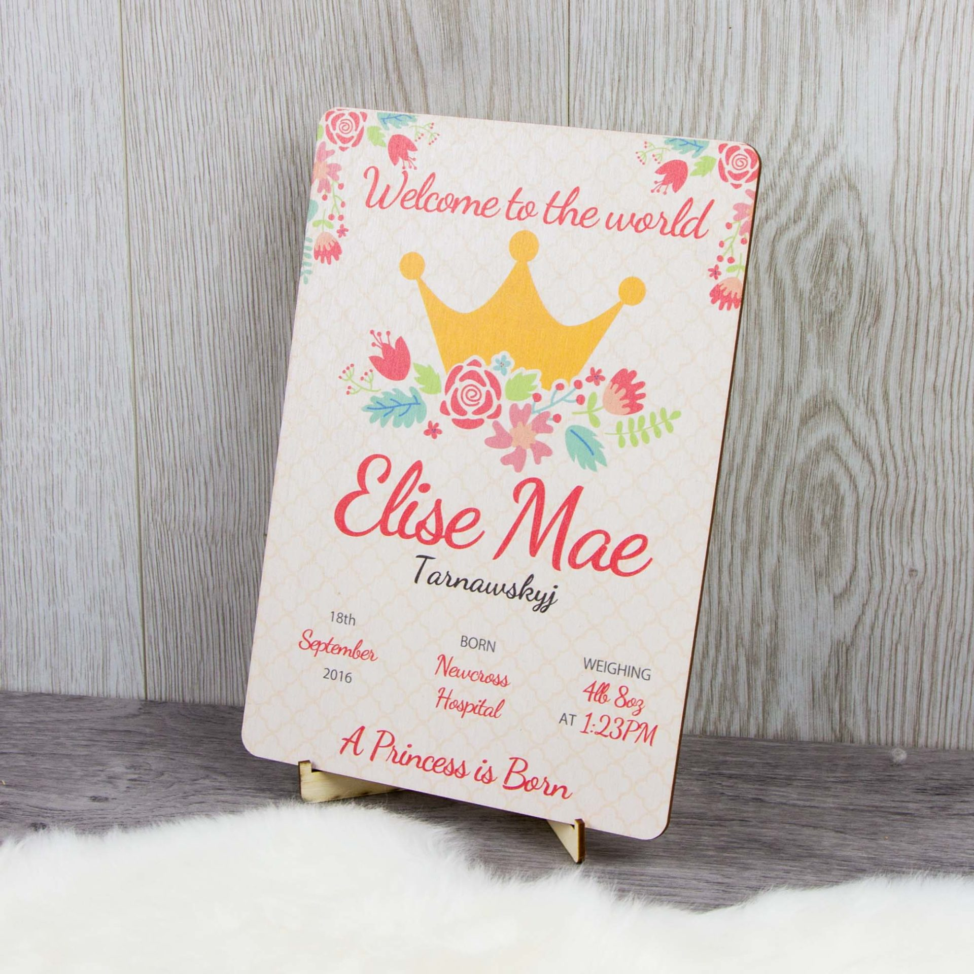 Crown Baby Amp Birth Announcement Wooden Plaque The