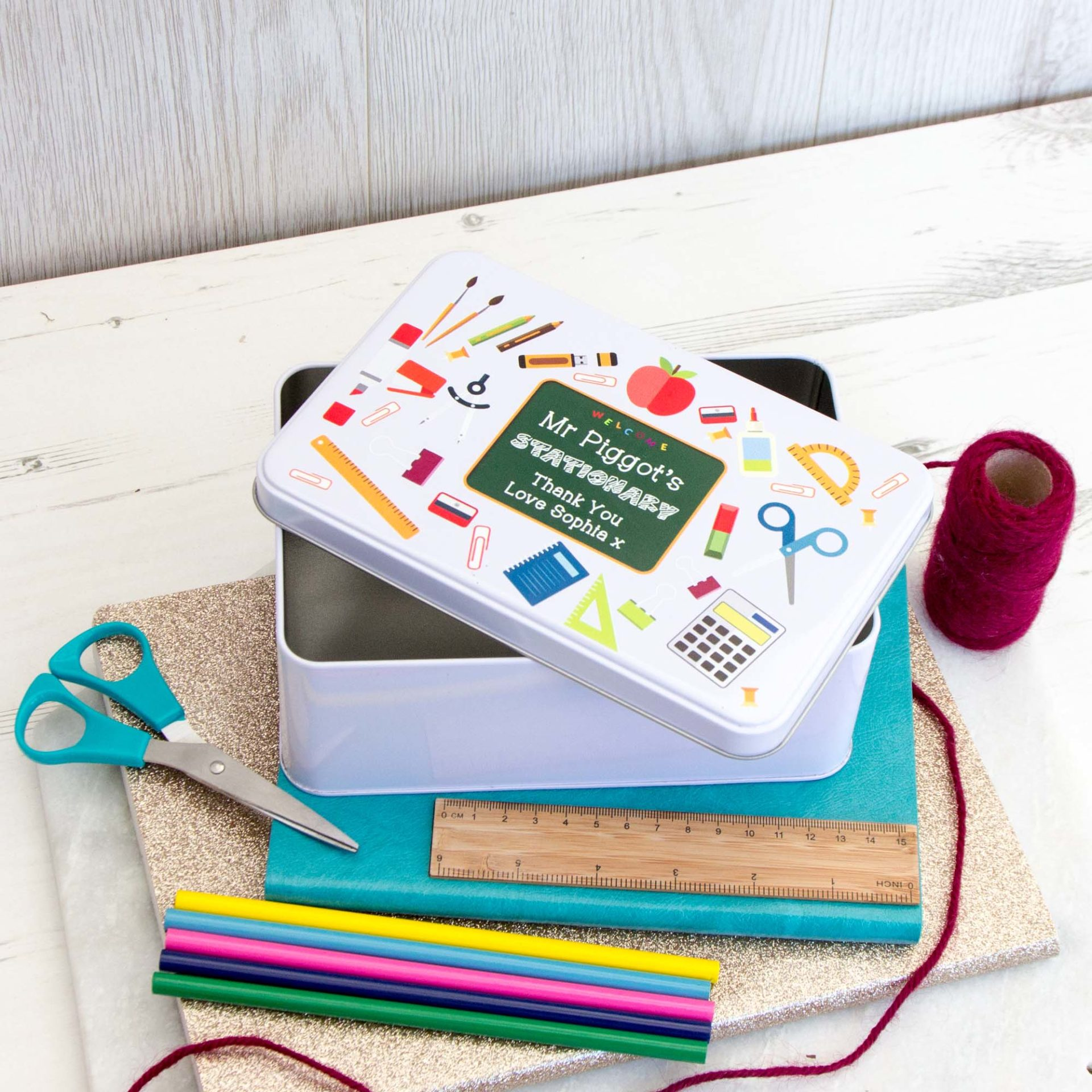 Teacher Stationery Tin The Laser Boutique