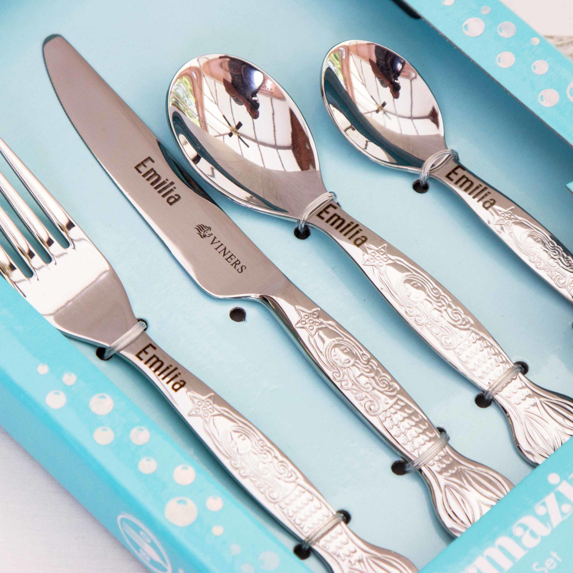 Children Cutlery Set Personalised Mermaid The Laser