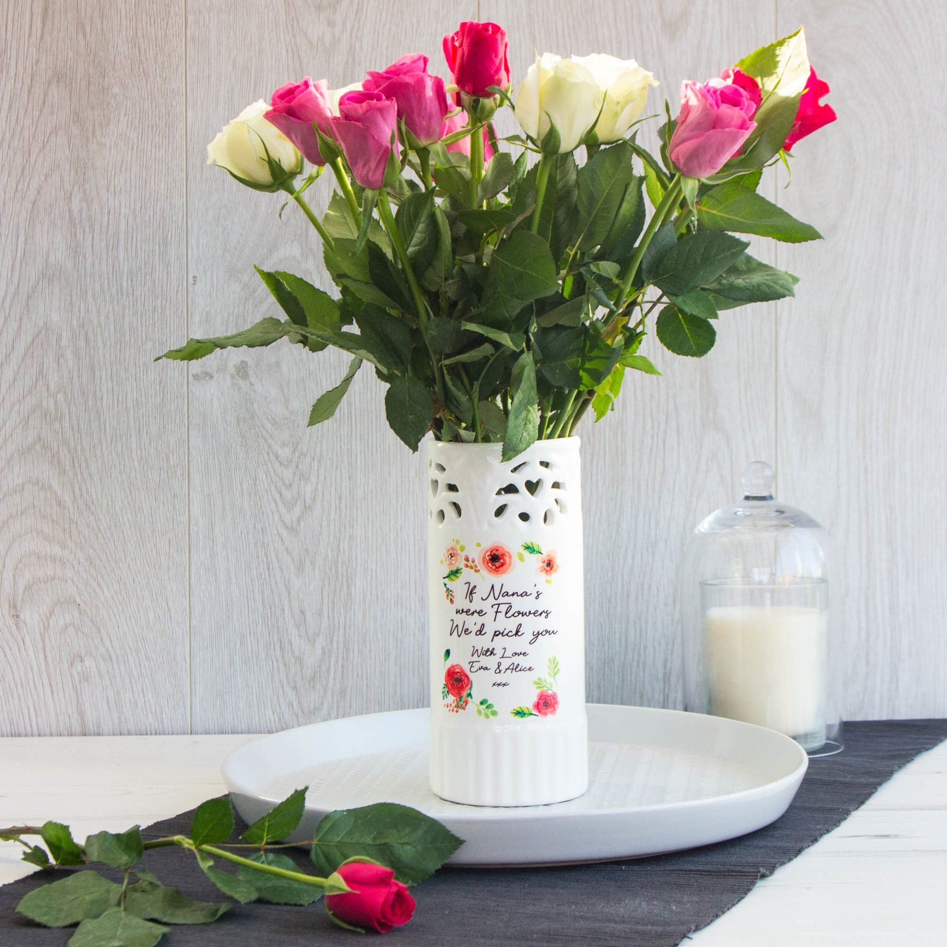 Ceramic Floral Colour Vase The Laser Boutique