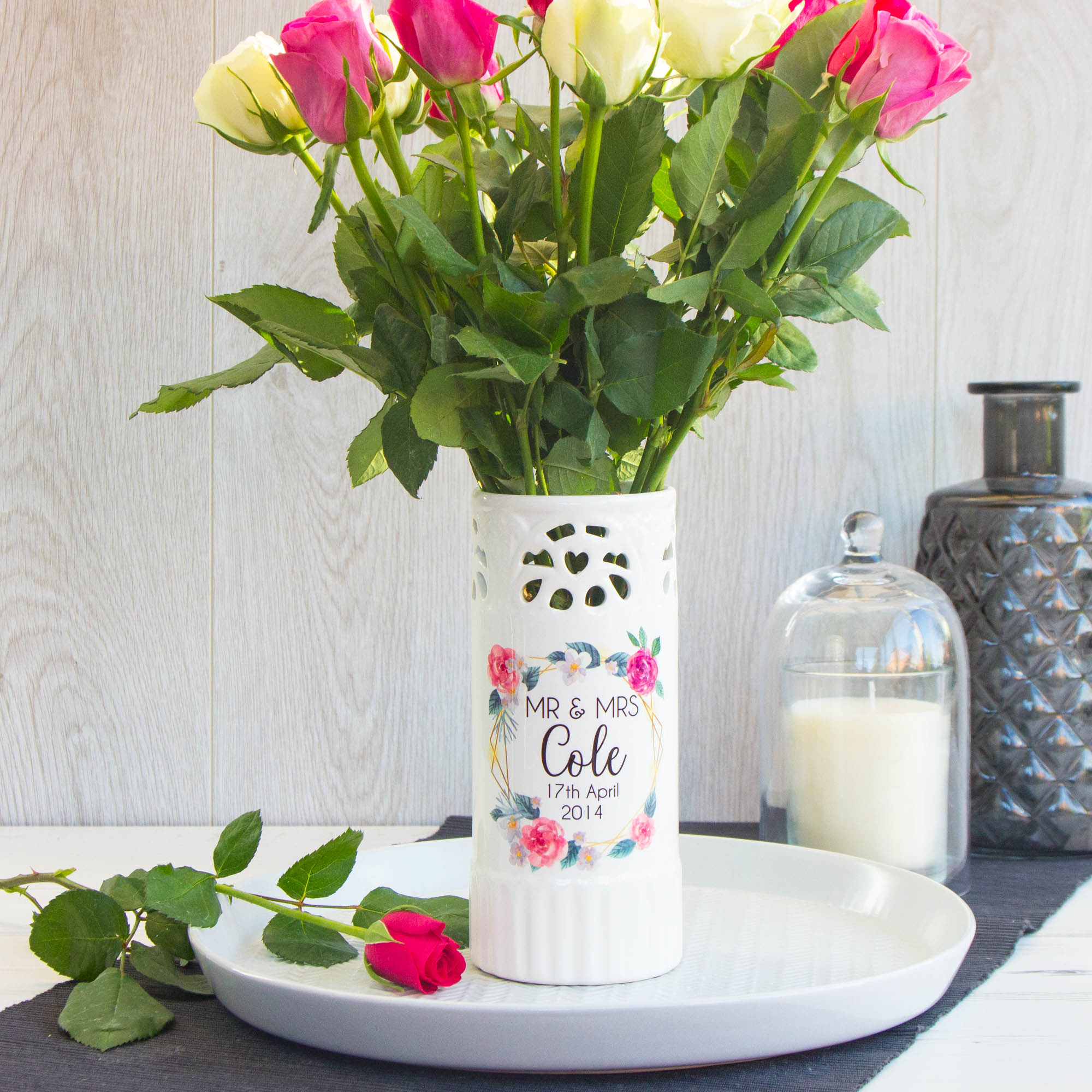 Ceramic Wedding Colour Vase The Laser Boutique